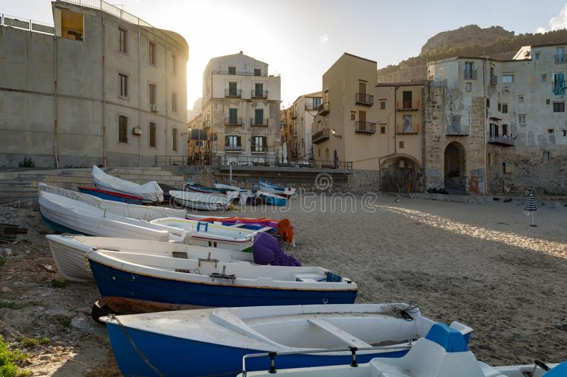 Touristic and vacation pearl of Sicily, small town of Cefalu, Si. Touristic and vacation pearl of Sicily, fishermen boats in small town of Cefalu, Sicily, south stock photography