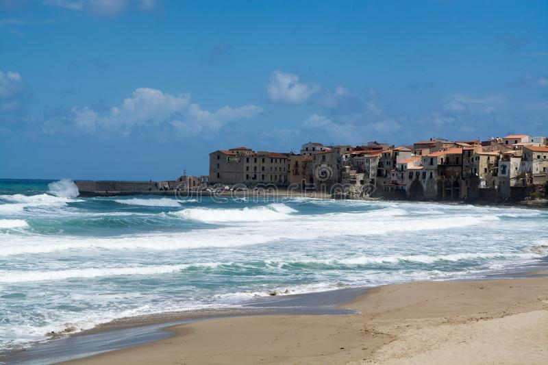 Touristic and vacation pearl of Sicily, small town of Cefalu, Si. Touristic and vacation pearl of Sicily, small town of Cefalu at sunrise, Sicily, south Italy stock photo