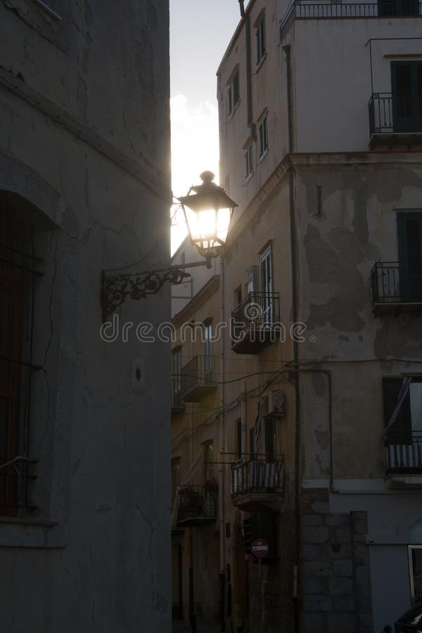 Touristic and vacation pearl of Sicily, small town of Cefalu, Si. Touristic and vacation pearl of Sicily, small town of Cefalu at sunrise, Sicily, south Italy royalty free stock image