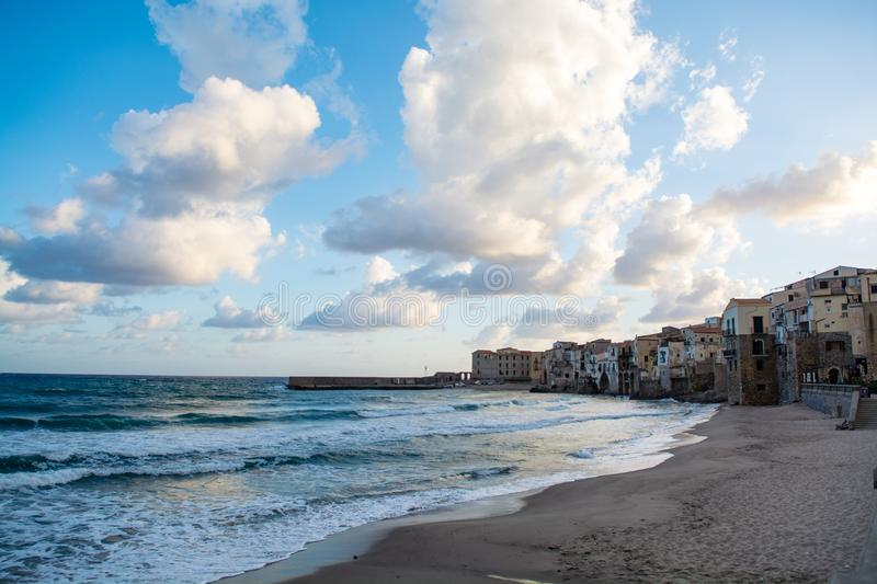 Touristic and vacation pearl of Sicily, small town of Cefalu, Si. Touristic and vacation pearl of Sicily, small town of Cefalu at sunrise, Sicily, south Italy stock images