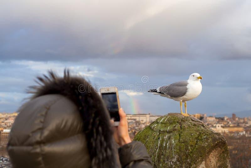 Touristisch, ein Foto in Rom machend stockfotografie