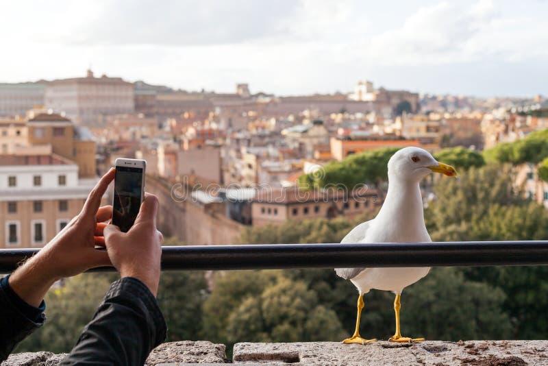 Touristisch, ein Foto in Rom machend lizenzfreies stockfoto