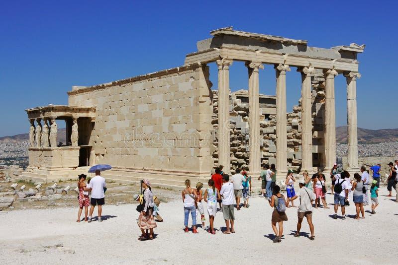 Touristische Besuchsruinen auf Acropole in Griechenland. lizenzfreies stockbild