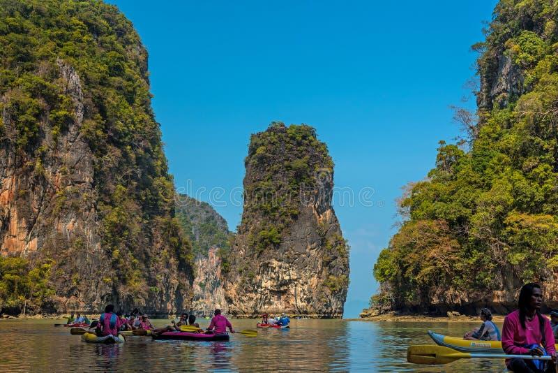 Touristische Kanus in Phuket stockbild