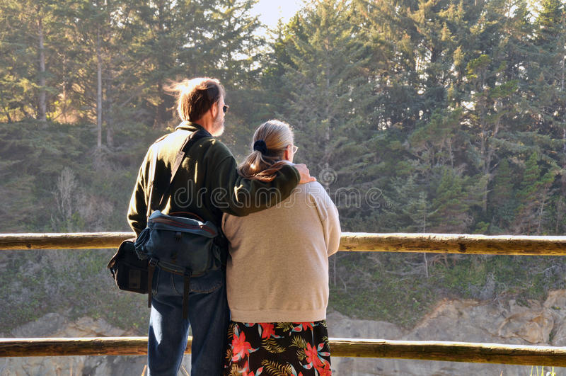 Touristische Paare, die eine Ansicht von genießen lizenzfreies stockfoto