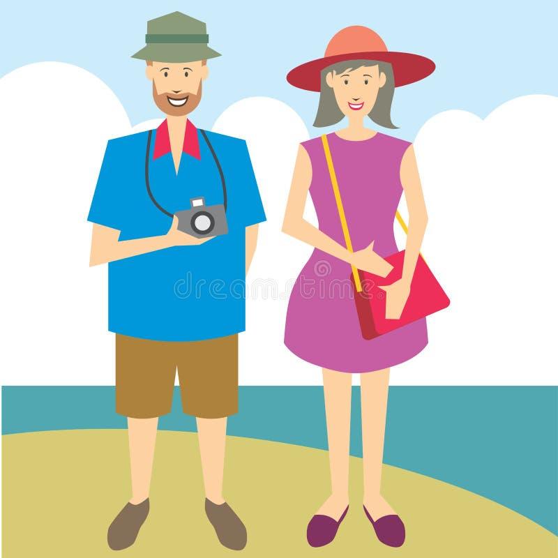 Touristische Paare mit Kamera lizenzfreies stockfoto