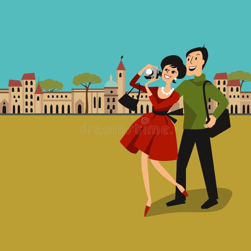 Touristische Paare mit Kamera in der Stadt lizenzfreies stockbild