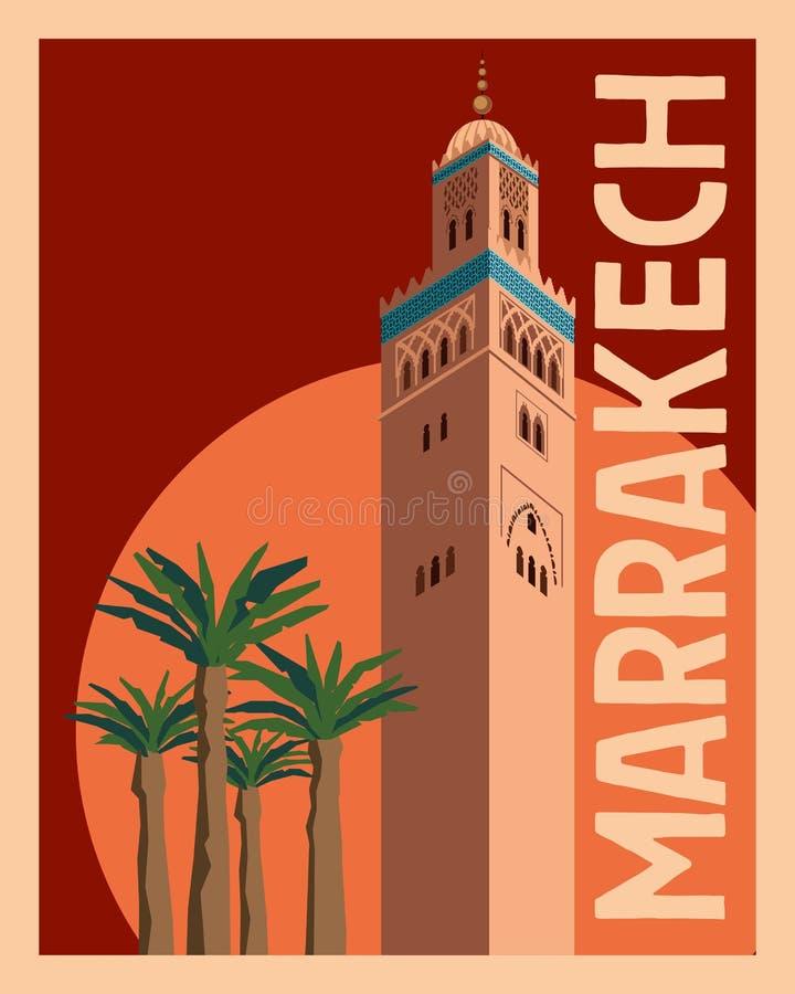 Touristische Postkarte Marrakesch Alter Turm und Palmen gegen den Sonnenunterganghimmel und -sonne lizenzfreie abbildung