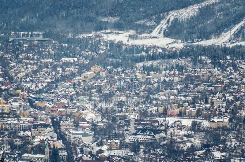 Touristische Stadt des schönen Winters von Zakopane in Polen stockbild