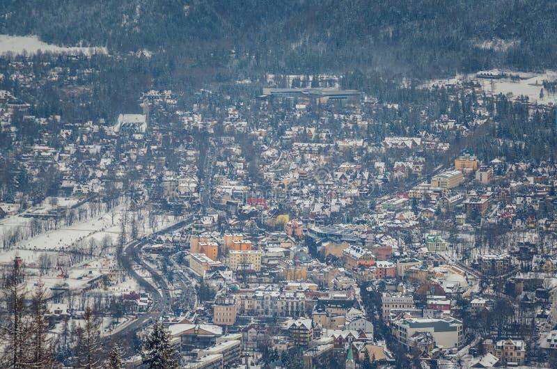 Touristische Stadt des schönen Winters von Zakopane in Polen lizenzfreie stockfotografie