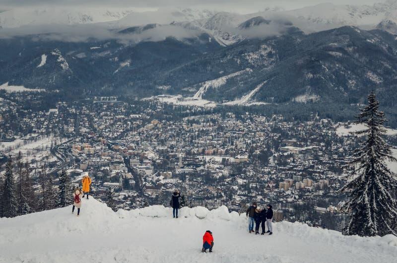 Touristische Stadt des schönen Winters von Zakopane in Polen stockfoto