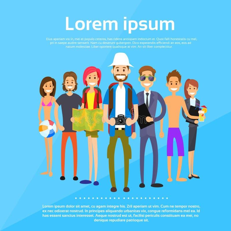 Touristische verschiedene Karikatur-Leute-Gruppen-Charaktere stock abbildung