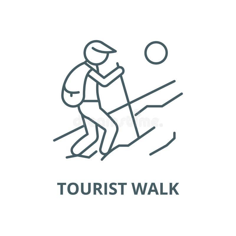 Touristische Wegvektorlinie Ikone, lineares Konzept, Entwurfszeichen, Symbol lizenzfreie abbildung