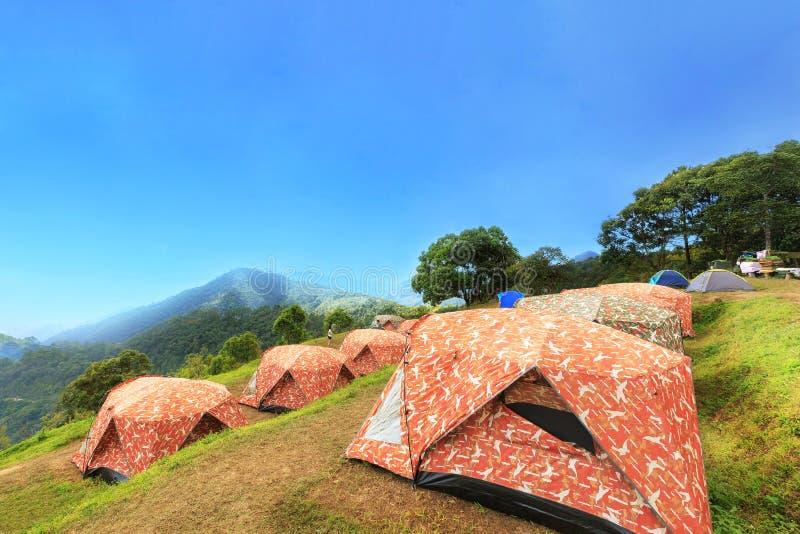 Touristische Zelte im Lager unter Wiese auf dem Berg stockbilder