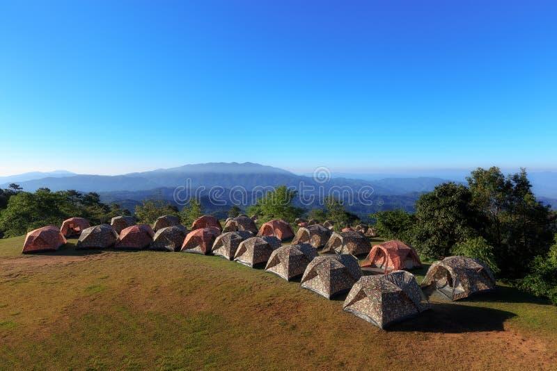 Touristische Zelte im Lager unter Wiese im Berg lizenzfreie stockbilder