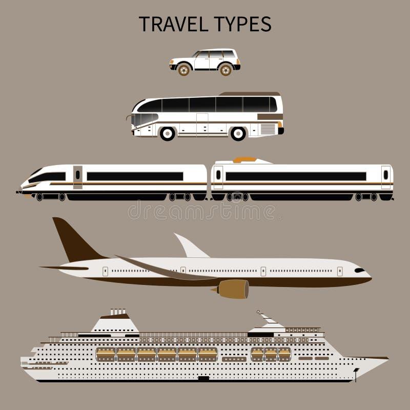 Touristischer Transport Auto, Bus, Zug, Flugzeug, Schiff lizenzfreie abbildung
