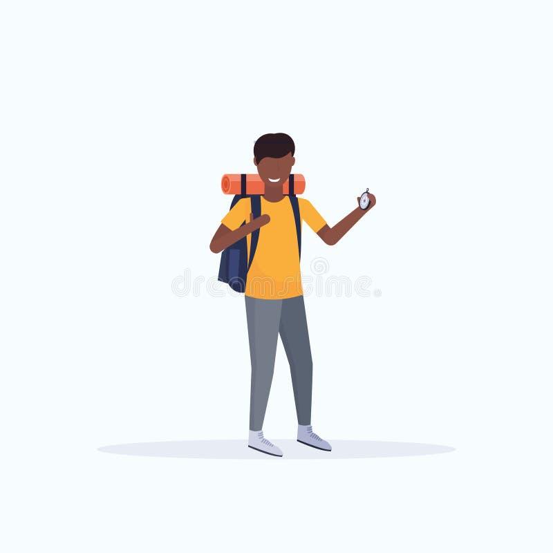 Touristischer Wanderer des Mannes mit dem Rucksackholdingkompaß, der die Richtung wandert Konzeptafroamerikanerreisenden auf Wand vektor abbildung