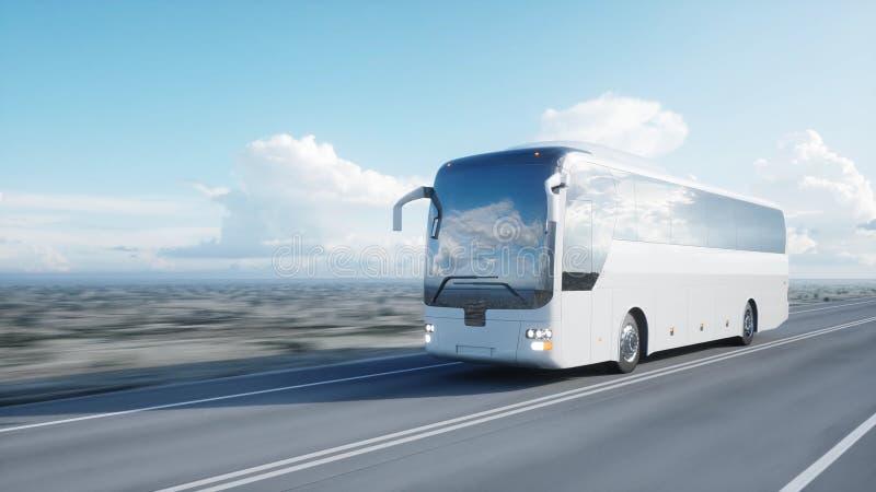 Touristischer weißer Bus auf der Straße, Landstraße Sehr schnelles Fahren Touristisches und Reisekonzept Wiedergabe 3d stockbild