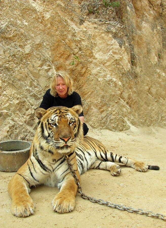 Touristisches Die Stirn runzeln der Frau im Interesse für grausame Zustände des angeketteten Tigers Bangkok Tiger Temple in Thail lizenzfreies stockbild