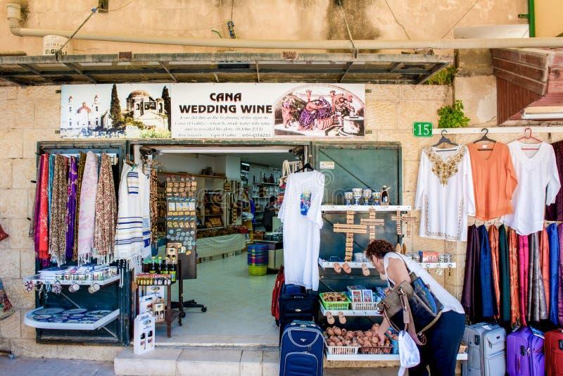 Touristisches Einkaufen in Cana, Israel stockbild