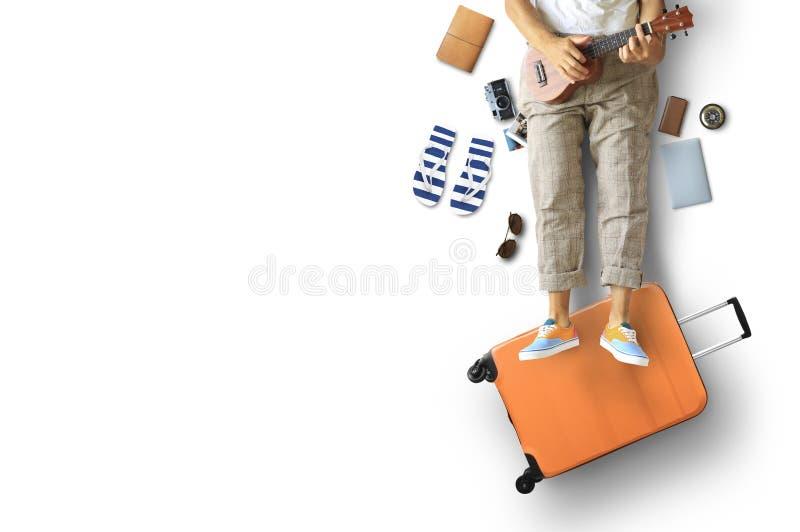 Touristisches Konzept, ein Mann mit Gitarre lizenzfreies stockfoto