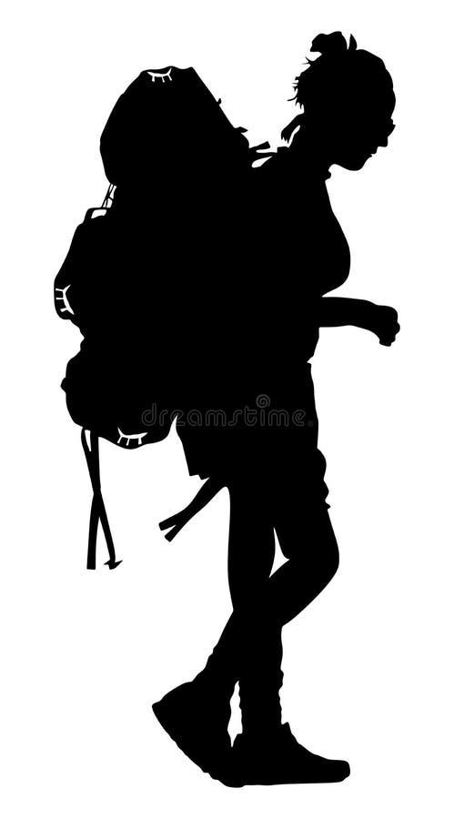 Touristisches Mädchen mit Rucksackvektorschattenbild Kampierendes reisendes Wandern der Frau Reisender auf der ganzen Welt stock abbildung