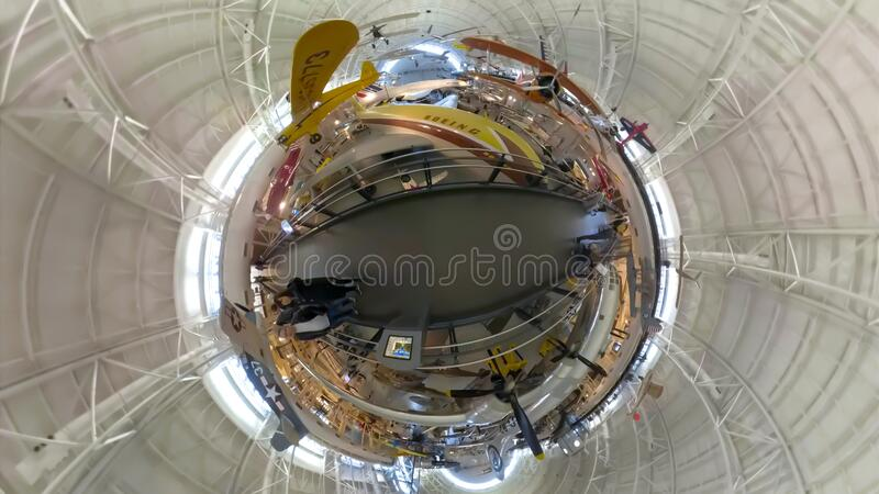 Tourists at the Air and Space Museum Udvar Hazy Center in 360 royalty free stock photography