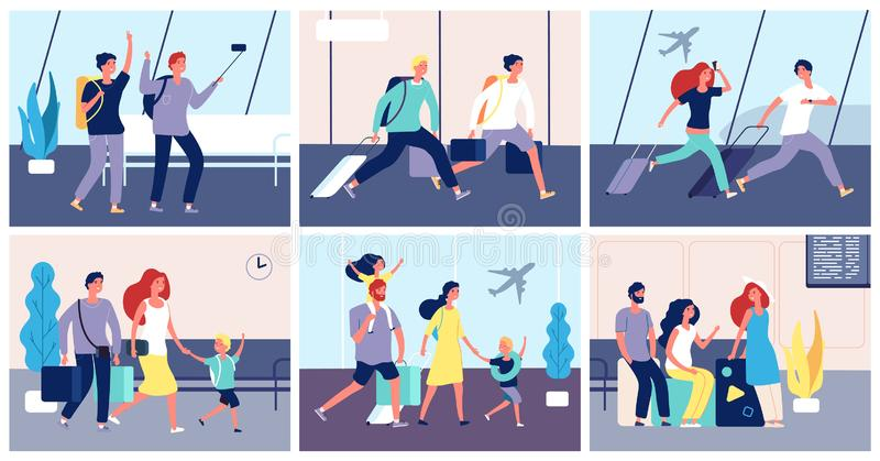 Tourists airport. People with luggage in international airport terminal passengers going summer vacation transportation stock illustration