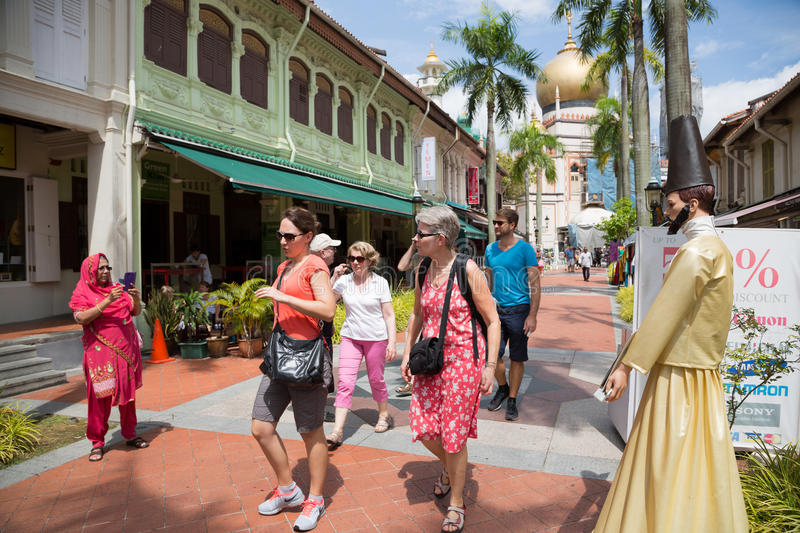 Tourists in the Arab quarter (Kampong Glam) in Singapore royalty free stock images