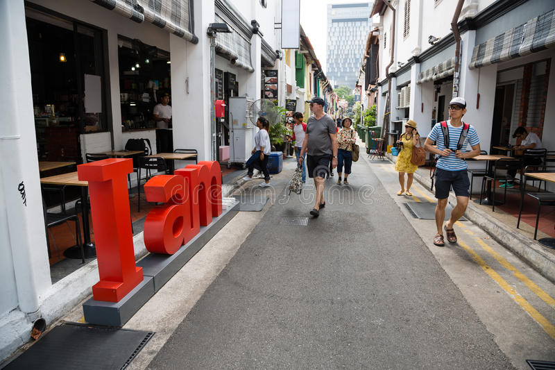 Tourists in the Arab quarter in Singapore stock photo