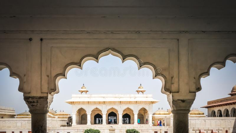 White marble interiors decorations t Agra Fort in Agra, India of the emperors rooms stock image