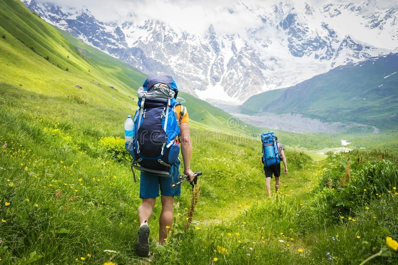 Tourists with backpacks on hiking trail walk along green hills in highlands. Hiking in mountains royalty free stock images