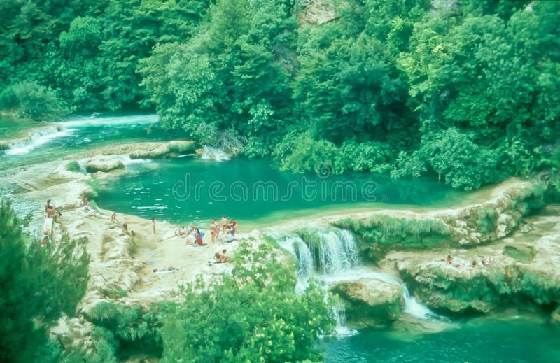 Tourists bathing at Krka waterfalls, Croatia royalty free stock photo