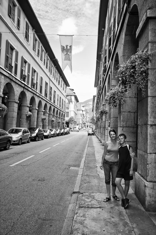 Tourists in Chambery royalty free stock images