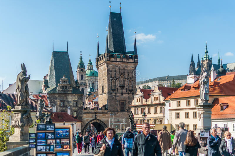 Download Tourists on Charles Bridge editorial image. Image of river - 39115280
