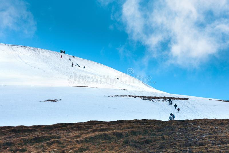 Tourists climbs for camping to the snow-capped mountain top. Con stock image