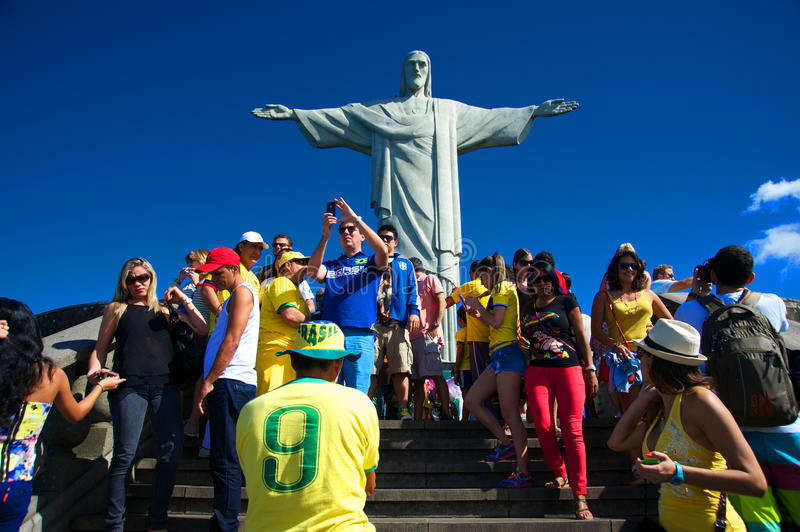 Download Tourists On The Corcovado Hill Visiting The Christ Editorial Photography - Image: 41788832
