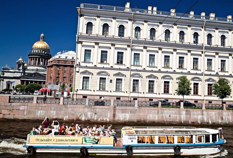 Tourists on cruiser boat, Saint-Petersburg