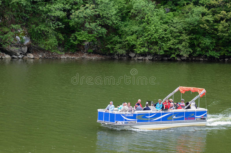 Tourists on the Danube River stock image