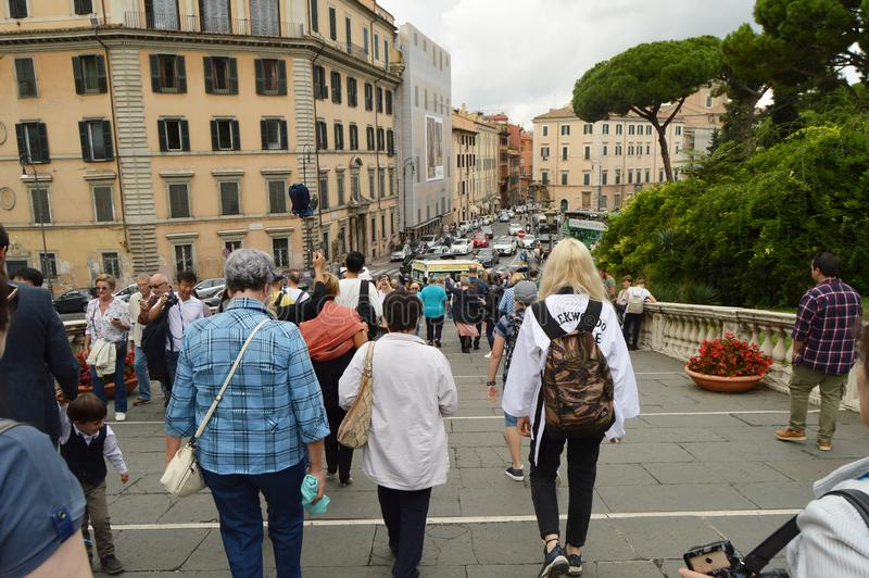Tourists descend from the Capitol on the stairs of the Cordonata, Rome, Italy, October 07, 2018 royalty free stock photos