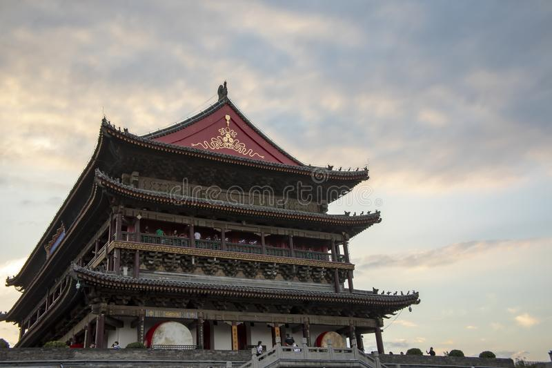 Drum Tower with tourists, Xian, China royalty free stock image