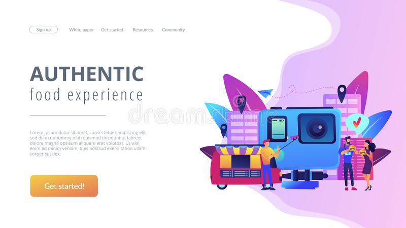 Culinary tourism concept landing page. Tourists eat and like local cuisine, taking selfies and action camera. Culinary tourism, authentic food experience, food vector illustration