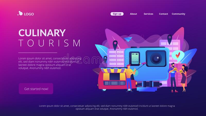 Culinary tourism concept landing page. Tourists eat and like local cuisine, taking selfies and action camera. Culinary tourism, authentic food experience, food stock illustration