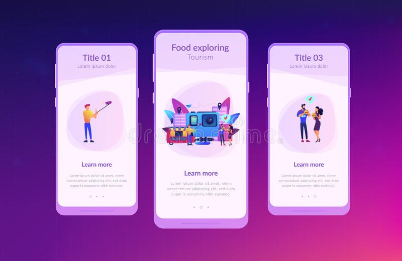 Culinary tourism app interface template. Tourists eat and like local cuisine, taking selfies and action camera. Culinary tourism, authentic food experience royalty free illustration