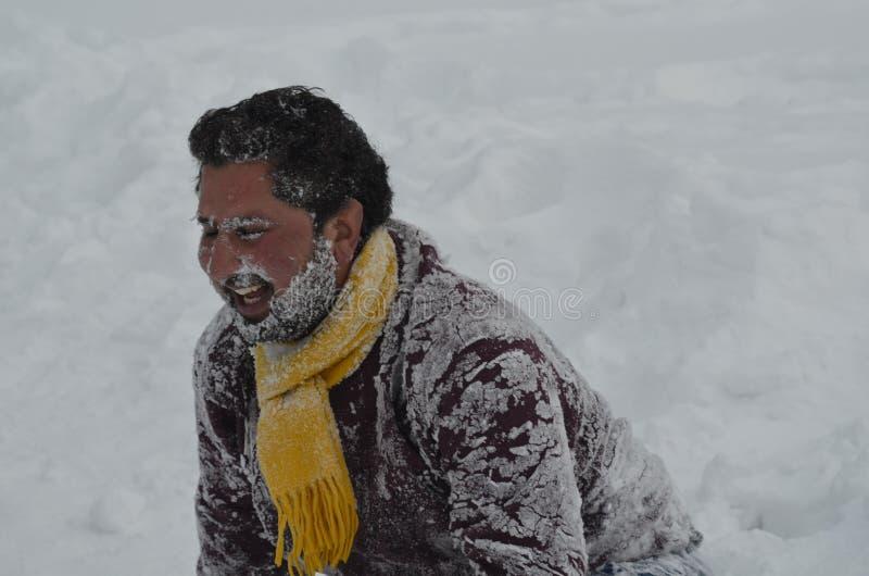 Tourists Enjoy At Gulmarg Kashmir Baramulla Country india. Tourists Enjoy with snow at Gulmarg Kashmir Baramulla Country india royalty free stock photo