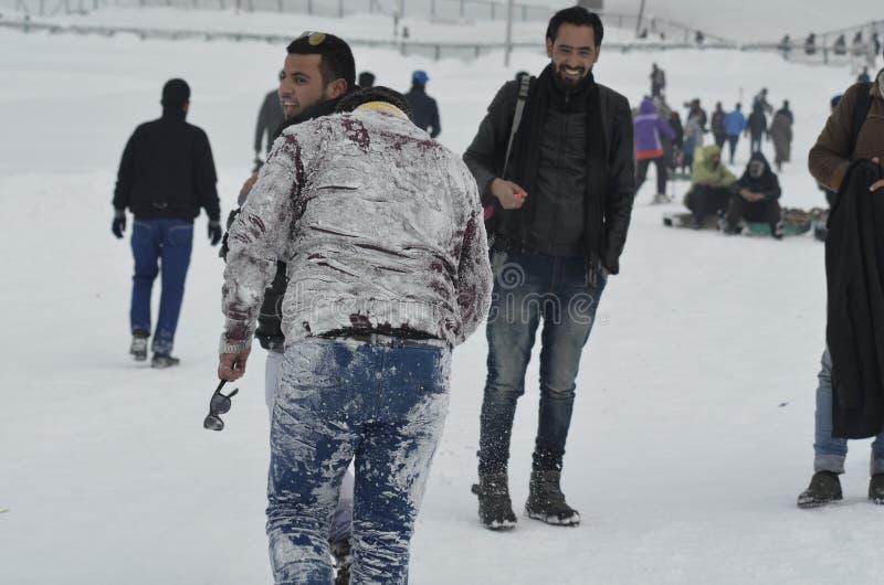 Tourists Enjoy At Gulmarg Kashmir Baramulla Country india. Tourists Enjoy with snow at Gulmarg Kashmir Baramulla Country india stock photos