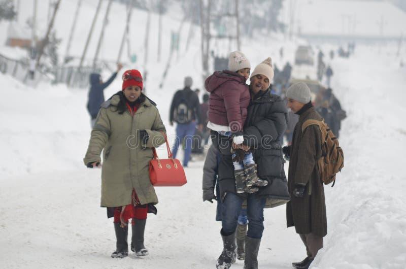 Tourists Enjoy At Gulmarg Kashmir Baramulla Country india. Tourists Enjoy with snow at Gulmarg Kashmir Baramulla Country india royalty free stock photos