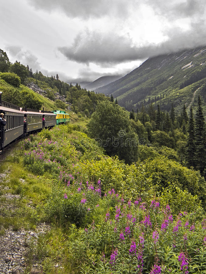 Scenic White Pass & Yukon Route. Tourists enjoying their time aboard the White Pass & Yukon Route railroad which was built in 1898 concurrent with the Klondike royalty free stock image
