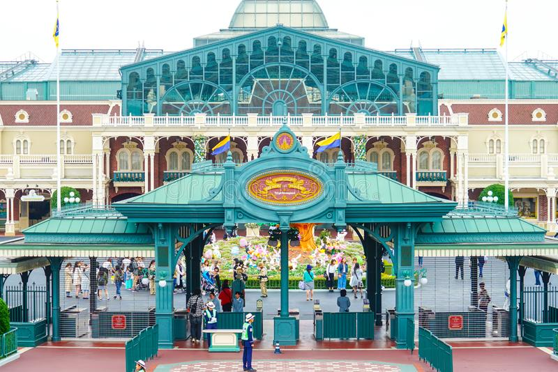 Tourists entering Tokyo Disneyland in Urayasu, Chiba, Japan royalty free stock images