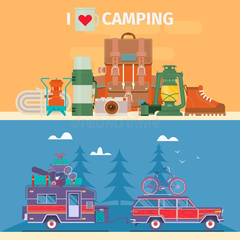 Tourists equipment and travel accessories vector set.Road trip, Adventure, Trailering, Camping concept background. Journey by car. Fans club trailering. Flat stock illustration
